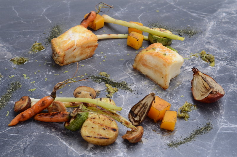 BLACK HAKE LOIN GRILLED WITH VEGETABLES AND GRILLED GARDEN VEGETABLES, AND CHIMICHURRI OF CITRUS