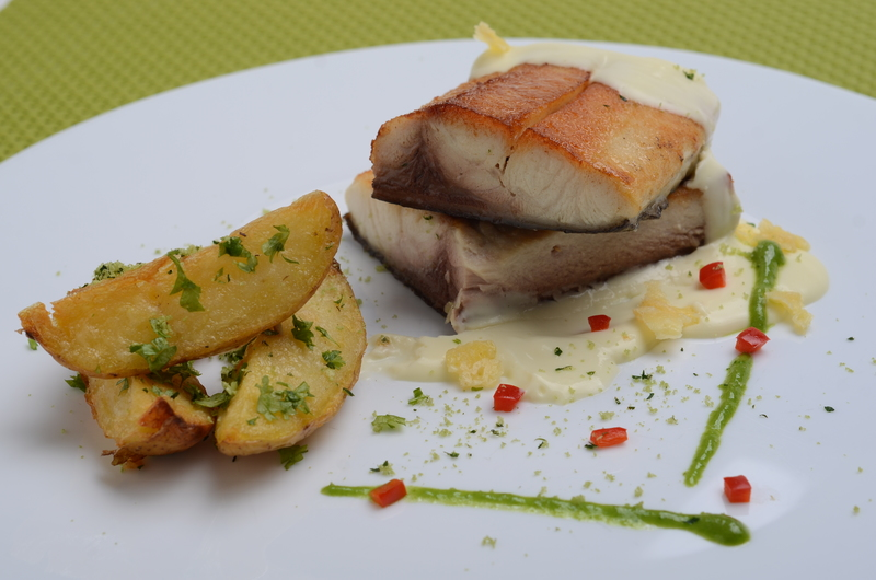 GRILLED PACU WITH CRUNCHY POTATOES WITH FRESH HERBES AND ROASTED LEMON SAUCE