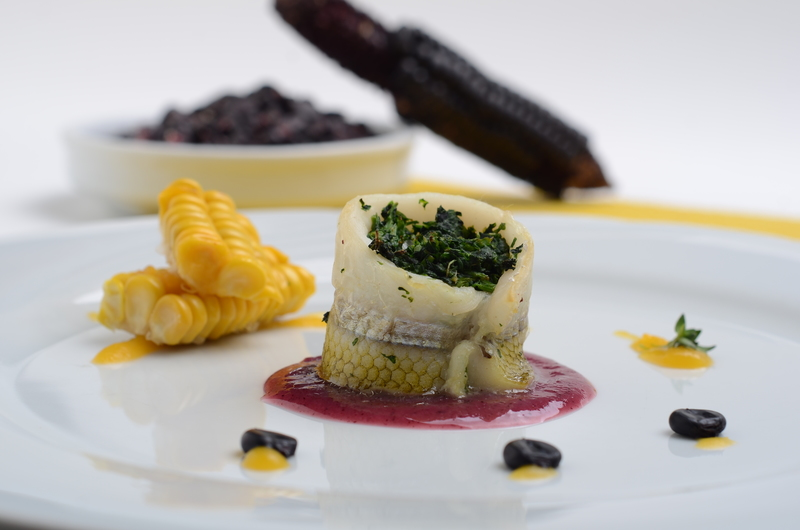 ROLL OF SILVERSIDE FISH WITH PURPLE CORN FLOUR SAUCE AND PUMPKIN CREAM