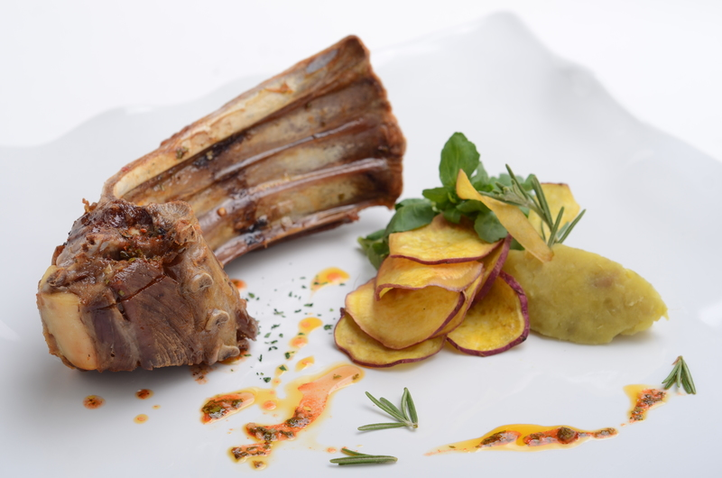 GOAT RIB WITH SWEET POTATOES EMULSION,  ROSEMARY AND OLIVE OIL